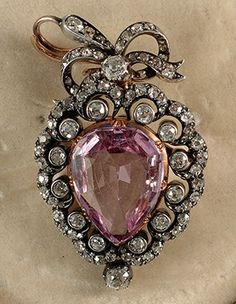1880c Victorian Gold on Silver brooch pendant. Pink Topaz 9.5ct centre stone