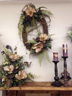 Magnolia wreath and mantle arrangement