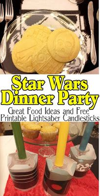 Enjoy a delicious dinner before going to see the new Star Wars movie while enjoying a fun Star Wars dinner party with your family and friends. With these great party food ideas, party decorations, and awesome Light saber candlesticks, you will be on the winning side no matter what happens on screen.