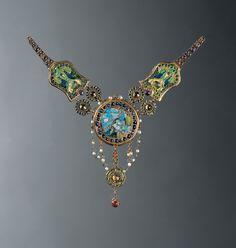 Louis Comfort Tiffany Necklace, c. 1903–6. Peacock and flamingo Enamel, opal, amethyst, ruby, sapphire, demantoid garnet, emerald, chrysoberyl, pearl, gold Louis Comfort Tiffany, American, 1848–1933