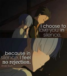 anime i choose to love you in silence New Quotes, True Quotes, Great Quotes, Sad Anime Quotes, Manga Quotes, Zero Wallpaper, Quotes Thoughts, Affirmations, Anime People