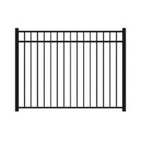 54 x 72 Flat Top 3-rail Black Aluminum Fence Panel (Actual Size: 54-in x 71-in)