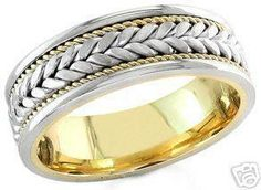 14k white and yellow gold mens 7mm braided wedding band by KNRINC, $999.00