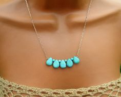 Delicate Turquoise Necklace on Gold by cuppacoffee on Etsy, $24.00