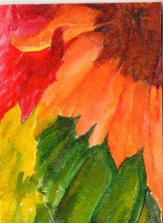 Sunflowers ACEO Original watercolor painting, sunflower art