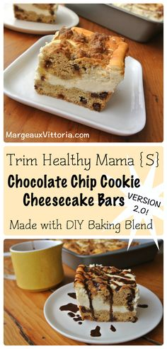 Trim Healthy Mama Chocolate Chip Cookie Cheesecake Bars