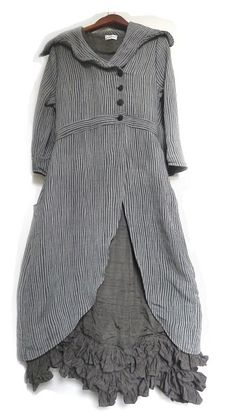 Fitzgerald Coat Dress in Ribbed Weave over the Fennefleur Frock in the Washed Silk.