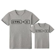 CTRL + C/ CTRL + V Daddy and Me T-Shirts – Cece Match Mother Daughter Shirts, Father Son Matching Shirts, Mom And Daughter Matching, Matching Family Outfits, Matching Clothes, Dad N Me, Dad Son, Ctrl C Ctrl V, Geek Shirts