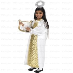 Beautiful angel Biblical fancy dress costume with gold collar and wings. halo and harp sold seperately. 128cm/50inches