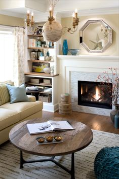 To create cozy warmth in this space, I curated a mix of soft textiles, rustic wooden textures, and layered lighting. Candice Olsen Design, Candice Olson, Living Room Designs, Living Spaces, Living Rooms, Wooden Textures, Elements Of Design, Fireplace Design, How To Antique Wood
