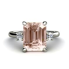 Emerald Morganite Engagement Ring 3 Stone Morganite by RareEarth, $1020.00