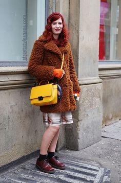 Street Style Snaps Carousel Liverpool Teddy Coat Blue