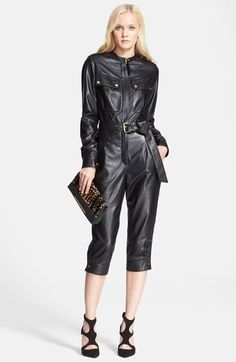 Tamara Mellon Crop Leather Jumpsuit available at #Nordstrom