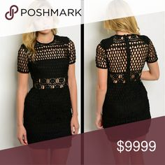 BLACK CROCHETED MINI DRESS HOLY CHIC! Totally crushing on this black crochet mini dress! This black dress features a lining to the bra and skirt, with a beaut crochet overlay. Wear with cut out heels for total glam💕 Fits TTS.  ☞Fabric Content: ☞Sizes available: XS S M ☞MODELING SIZE MEDIUM  ❌PRICE FIRM ❌ Dresses Mini