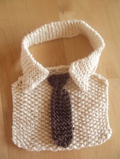 free knit pattern, baby bib, knit shirt and tie, handmade, DIY Made and shared by Michelle aka wholesomeplaytime. Get the FREE pattern from Cheryl's Knitting. FREE PATTERN: Shirt & Tie Ba…