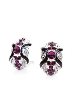 A oval shaped earring featuring faux crystal and rhinestone accents. High polish finish. Clip on.    Dimensions 2 x 0.8 x 2.5 cm   Clip-On Earrings Glam by NAMES Accessories. Accessories - Jewelry - Earrings Canada