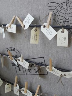 Custom Printed Vintage Shabby Chic Mail Tag Escort Cards / Place Cards. $1.50, via Etsy.