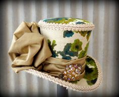Vintage Fabric Inspired Mini Top Hat, Champagne and Olive, Mini Mad Hatter Hat, Tea Party Hat, Alice in Wonderland, Bridal Shower Mini Hat