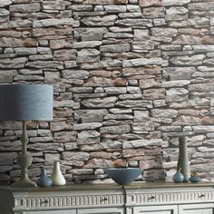 Arthouse Moroccan Wallpaper 623000 Old Rustic Brick Stone Wall Slate Effect for sale online Grey Stone Wallpaper, Moroccan Wallpaper, Brick Effect Wallpaper, Look Wallpaper, Feature Wallpaper, Wall Wallpaper, Wallpaper Patterns, Wallpaper Ideas, Old Brick Wall