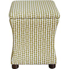 @Overstock - Material: Solid wood, foam, Kiwi Green Geometric fabric  Finish: Dark brown  Upholstery materials: 74-percent polyester/26-percent rayonhttp://www.overstock.com/Home-Garden/Cinch-Storage-Ottoman/6349912/product.html?CID=214117 $66.79