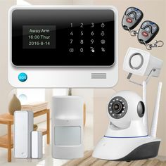 Black/White WiFi GSM GPRS Alarm System Sensor Alarm  security systems home Alarm Burglar Security alarm +WIFI IP Camera