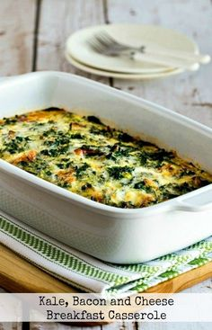 Adds amazing flavor to this kale, bacon, and cheese breakfast casserole, an Kale Recipes, Bacon Recipes, Egg Recipes, Brunch Recipes, Healthy Dinner Recipes, Breakfast Recipes, Vegetarian Entrees, Healthy Foods