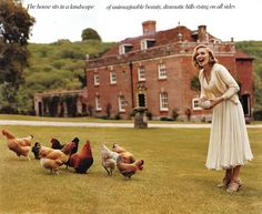 Madonna and her chickens, Wiltshire, UK, 2005 American Vogue by Tim Walker Vogue Japan, Vogue Russia, Vogue China, English Manor, English Countryside, English Homes, English Estates, Country Life, Country Style
