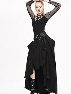 Devil Fashion Women Tie Skirts Goth Steampunk Black Slim Cotton Long Skirts at Amazon Women's Clothing store: $85.99  http://amzn.to/2utEln1