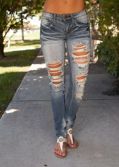 Ripped and Faded Jeans - Modern Vintage Boutique