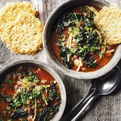 Hearty borlotti bean minestrone served with Parmesan crisps for dipping!  Find the recipe in the link in our bio  #Veggie #MeatFree #OnTheTable #Waitrose