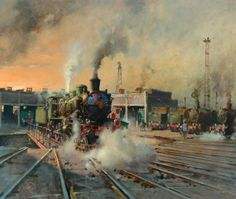 Nord at SNCF (French National Railways) Boulogne Shed by Terence Tenison Cuneo Train Posters, Railway Posters, National Railway Museum, National Railways, Train Drawing, Old Steam Train, Steam Railway, Train Art, Train Pictures