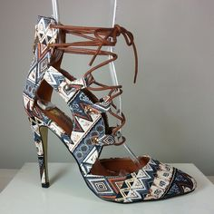 lace-up pointy-toe heel with tribal print #cutesyoriginals