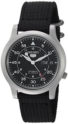 Seiko Men's SNK809 Seiko 5 Automatic Stainless Steel Watch with Black Canvas Strap  Round watch featuring round black dial with day/date windows, sword-shape hands, and exhibition case back  37 mm stainless steel case and Hardlex mineral dial window  Precise 21-jewel automatic movement with analog display  Features include luminosity, sweeping second hand, canvas band, and a date window that can be formatted in English or Spanish