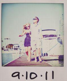 save the date magnet xo nautical rustic vintage polaroid diy