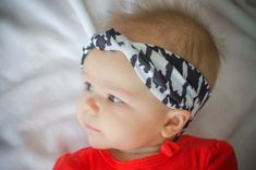 Black and White Houndstooth Cotton Knit Turban by LucillePaige, $8.00