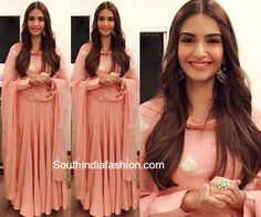Among all the pretty desi outfits Sonam Kapoor wore to promote Prem Ratan Dhan Payo was this pretty pink anarkali by Anamika Khanna.