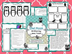 This unit has before, during, and after activities including tier 2 vocabulary for the book, Owl Moon. Comprehension skills include prereading schema building, story elements and comparing realistic fiction to nonfiction, summarizing, author's craft and figurative language, sequencing, author's purpose, questioning (test), owl research, and writing projects. The unit includes 16 pages of activities.