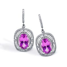 Enchanted Color Collection - These enticing 18K white earrings feature 10.15ctw oval cut natural Kunzite center stones and 1.20ctw round white Diamonds.   - TE168