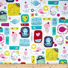 Ahoy Matey The Sea Multi from @fabricdotcom  Designed by Whistler Studios for Windham Fabrics, this fabric is perfect for quilting, apparel and home decor accents. Colors include navy, red, turquoise, yellow, pink and white.
