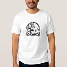 German Beer Drinker Oktoberfest Black and White Re T Shirt. Black and white illustration of a German Bavarian beer drinker raising beer mug for Oktoberfest toast wearing lederhosen and German hat set inside circle done in retro style. #Blackandwhite #GermanBeerDrinkerOktoberfest