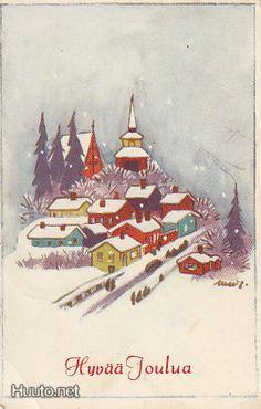 Martta Wendelin Vintage Christmas Cards, Christmas Greeting Cards, Christmas Art, Christmas And New Year, Christmas 2019, Xmas, Childrens Christmas, Christmas Paintings, New Year Card