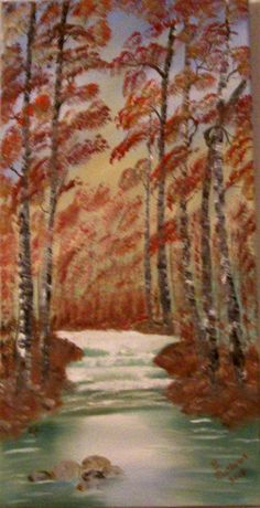 Oil Painting, Original 12x24 Four Seasons Fall, Scenic Oil Painting, Landscape Oil Painting, Painted in the USA, #49 by OilPaintingsbyBarb on Etsy