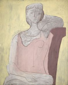 PABLO PICASSO (1881-1973). FEMME À LA ROBE ROSE. Oil on canvas. 39 3/8 by 31 7/8 in. 100 by 81 cm. Painted in 1917. Sotheby's, 2013.