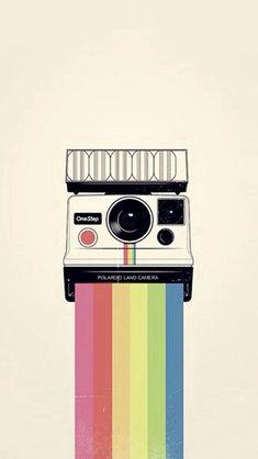 Polaroid Camera Colorful Rainbow Illustration  #iPhone #5s #wallpaper