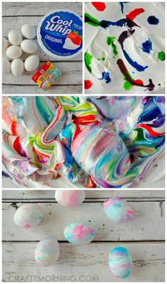 Here's a fun twist on dyeing Easter eggs this year! Grab a tub of cool whip and food coloring for an experience! I have also posted my shaving cream easter eggs but this makes it safer and edible. I found using the neon food coloring makes it more vibrant Whipped Cream Easter Eggs, Shaving Cream Easter Eggs, Tie Dyed Easter Eggs, Easter Crafts, Holiday Crafts, Holiday Fun, Crafts For Kids, Easter Ideas, Fall Crafts