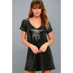 Lulus  Light Up the Night Black Sequin Shift Dress (€14) ❤ liked on Polyvore featuring dresses, black, sparkly dresses, shift dress, short sleeve cocktail dresses, sequin cocktail dresses and v neck sequin dress