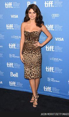 "e1fcbb44350 Selena Gomez In A Leopard Print Dolce   Gabbana Dress At ""Spring Breakers""  Photocall."