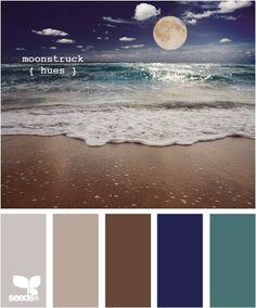 moon on the beach colours, blues, bronze, neutral