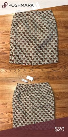 """Brocade floral skirt by """"Tulle"""" Anthropologie Vintage style olive green colored skirt w/ white stitching & red, green & white floral design. Size L. Measures: waist: 15"""", length 20"""". BNWT. Anthropologie Skirts Midi"""