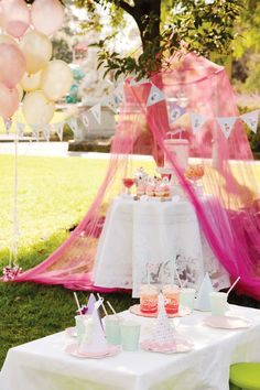 Pink Vintage Circus Birthday Party - love the tent over the food table (Hostess with the Mostess)